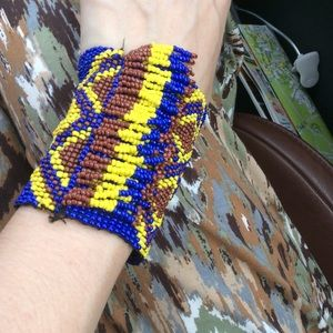 Handbeaded Aztec Pattern Stretch Fringe Bracelet
